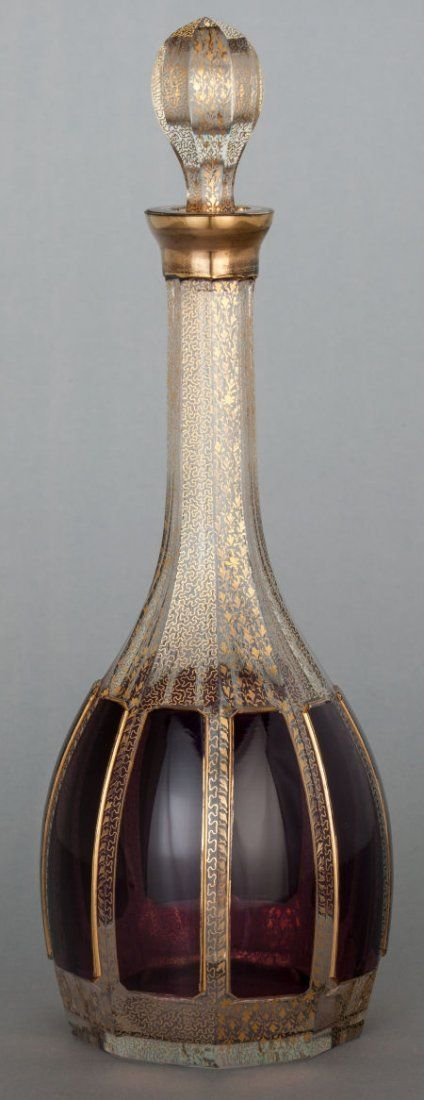 A BOHEMIAN GLASS AND GILT DECORATED DECANTER Circa 1880