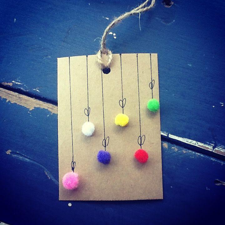 Handmade Pompom Christmas Baubles Gift Tag