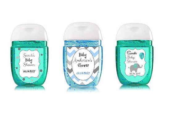 Blue Gray White Customized Hand Sanitizer Labels For Baby