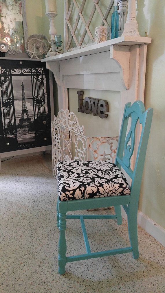 Turquoise chairTurquoise blackwhite by RightUpMyAlleyDesign