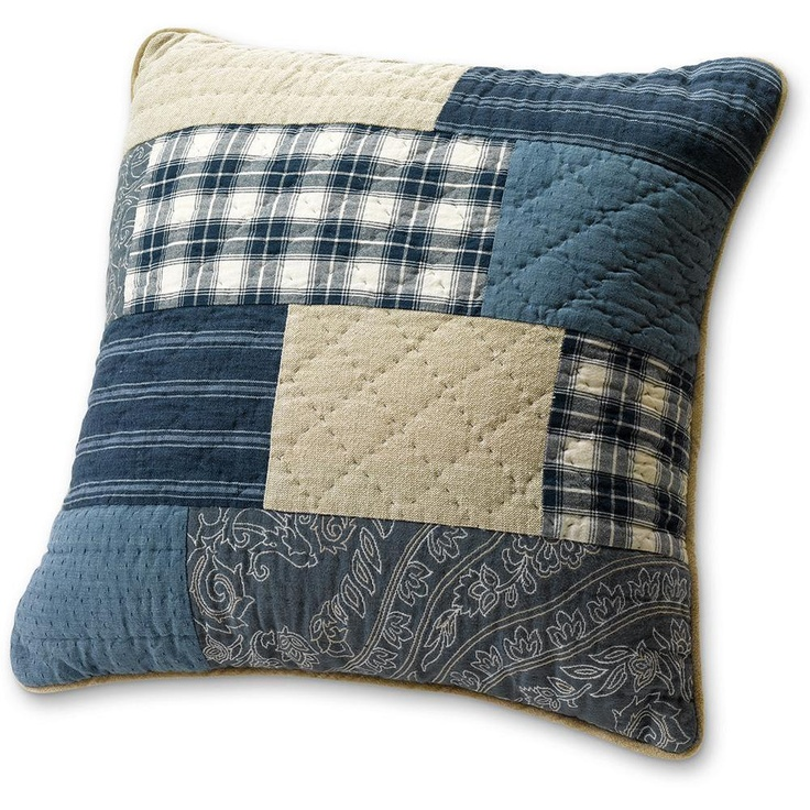 Eddie Bauer Weathered Blues Throw Pillow- perfect for mans quilt along with a pillow and a pillowcase-db