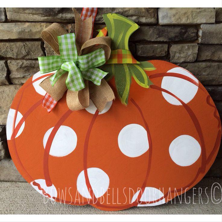 Pumpkin door hanger, fall wreath, fall door hanger , Halloween door hanger by BowsandBellsHangers on Etsy https://www.etsy.com/listing/194841040/pumpkin-door-hanger-fall-wreath-fall