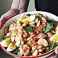 La salade de haricots blancs -mettez vos préjugés au placard- c'est vraiment excellent. Quand arrive l'été, je prépare de grosses salades...