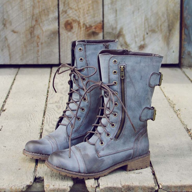 I love this color and distressed look!! Style of boots is alright. Find a way to do this using dye/paint.