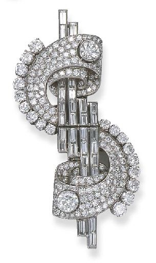 AN ART DECO DIAMOND 'DOLLAR' DOUBLE-CLIP BROOCH Each clip of scroll design with baguette-cut diamond line centre and collet detail forming the dollar sign, late 1930s