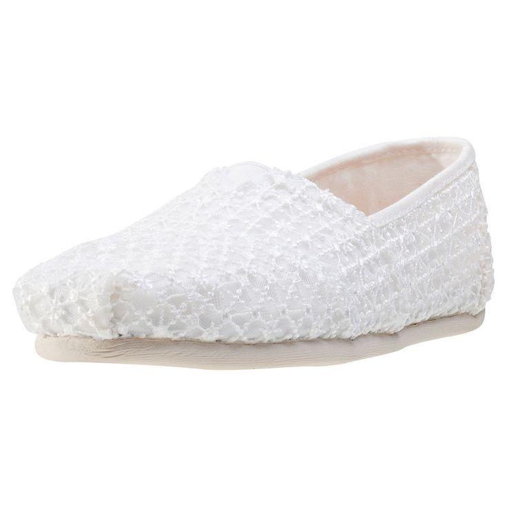Toms Seasonal Classics Crochet Lace Womens Espadrilles White Shoes
