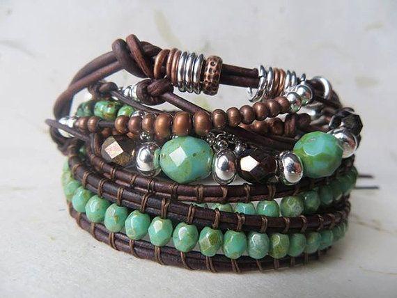 Leer wrap armband, geknoopte beaded lederen beaded wrap armband, turquoise koper…