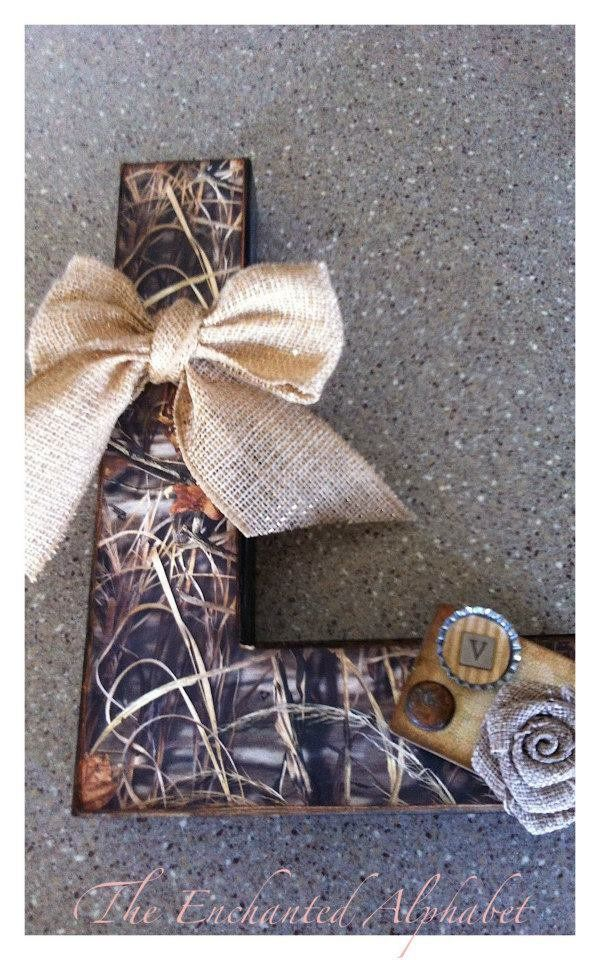 "Camo 12 inch ""L"" perfect for your country guy or gal! $45 #theenchantedalphabet This is a sample only.  You can customize your own!"