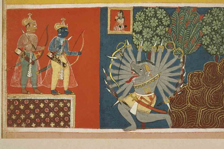 Rama Attacks the Demon Kabandha. from a Ramayana Manuscript, Ink and color on paper, ca. 1640,  Varanasi (Banaras), Banaras Hindu University, Bharat Kala Bhavan Museum