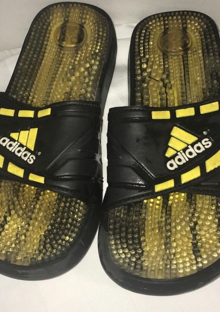 Men's Adidas Flip Flop Sandals Slip On Shoes Black & Yellow 11 Sports Shoes    eBay