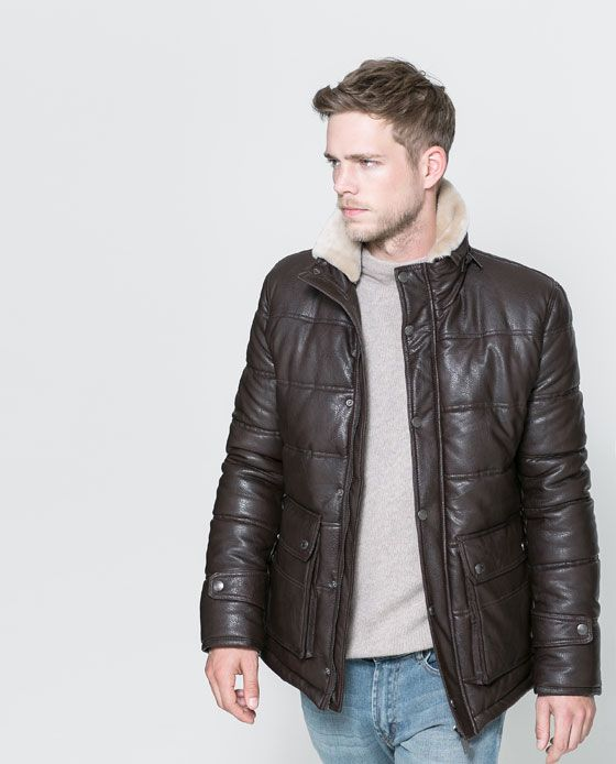 Image 1 of FAUX LEATHER JACKET WITH FUR COLLAR from Zara