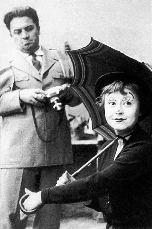 Federico Fellini and Giulietta Masina on the set of La Strada, 1954