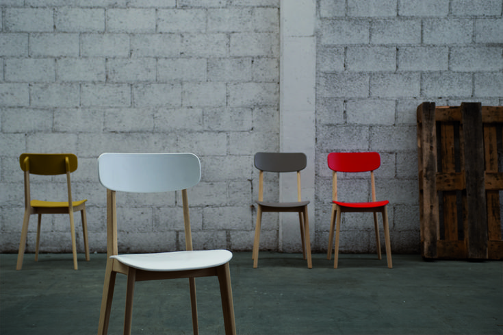 Cream Chair by Mr Smith Studio for Calligaris. Seat and back in restilon, a thermoplastic polymer made of 35% recycled materials
