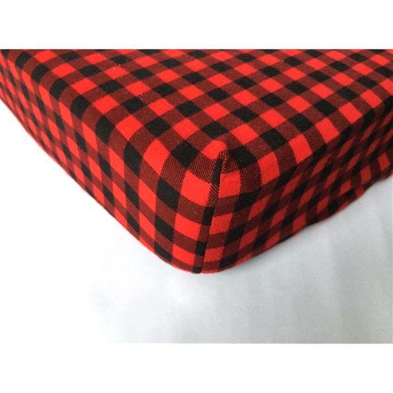 Bébé Drap contour carreaux noir/rouge chasseur bucheron finette coton flanelle basinette matelas lit de transition 4-6 pouces