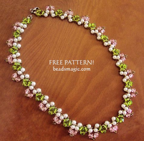 Free pattern for beaded necklace Spring Way U need: seed beads 15/0 pearls 4 mm