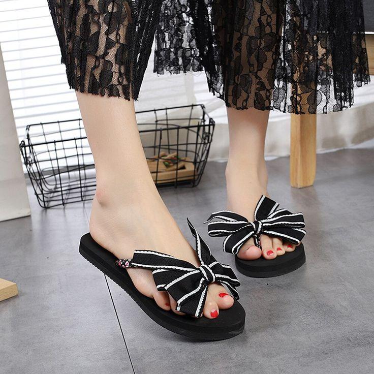 Women Bow Summer Sandals Slipper Indoor Outdoor Flip-flops Beach Shoes Fashion Female Casual …