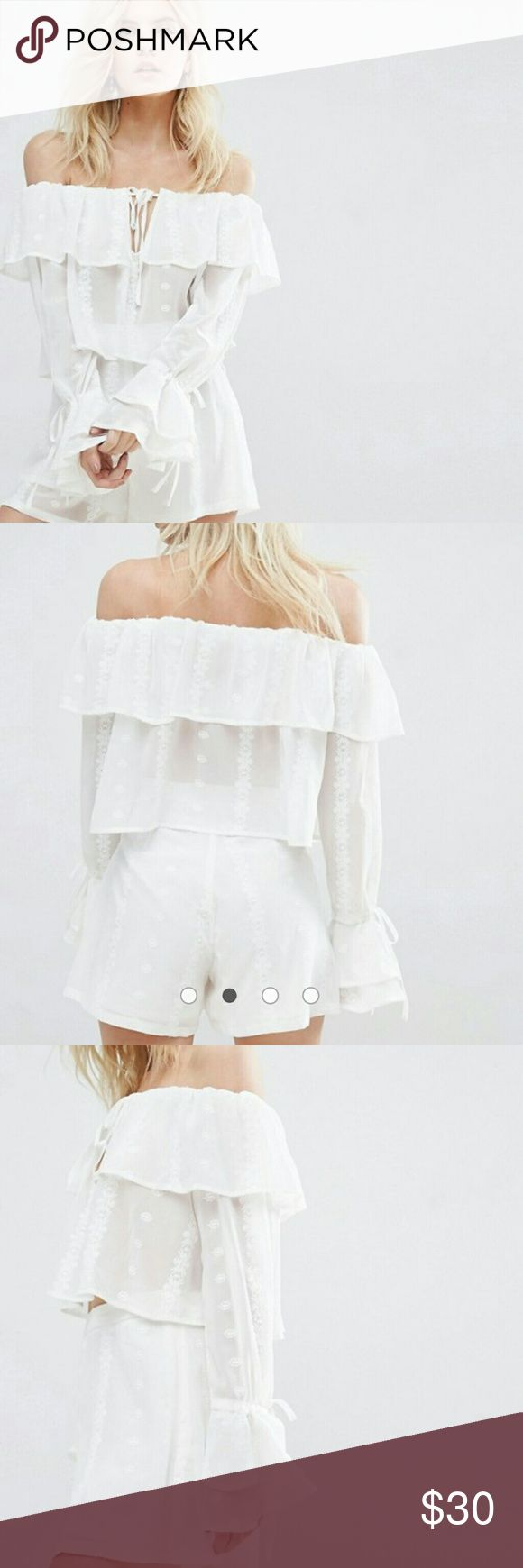 Misguided petite bardot frill embroidered top Super cute sheer top in white. Has embroidery and off shoulder fit. Bell sleeves! Size 0 nwt misguided Tops Blouses