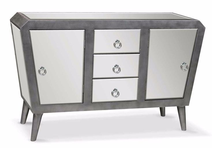 Mirrored Sideboard Cabinet Glass Construction With Drawers Home Decor Furniture  | eBay