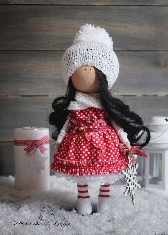 Hand made Decor doll, brunette, red, black, christmas, Home, House, Art, Baby doll, Girl doll,  unique magic doll by Master Margarita Hilko