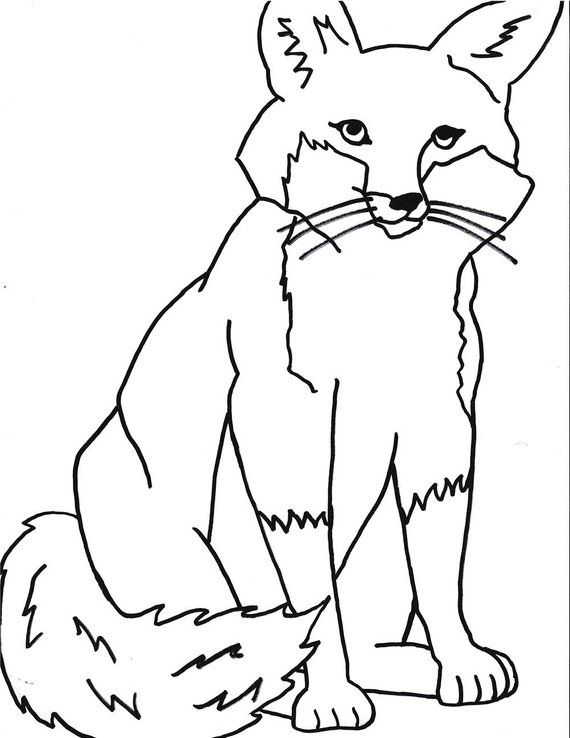 Fox Printable Coloring Page Printablekidscoloringinstant Etsy Coloring Pages Printable Coloring Pages Fox Printable