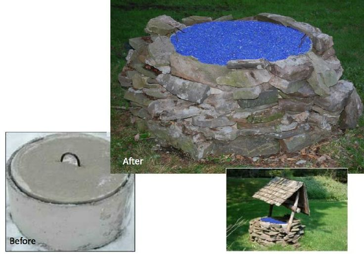 Turn An Old Ugly Above Ground Septic System Into A Beautiful Glass Mulch Water Wishing Well