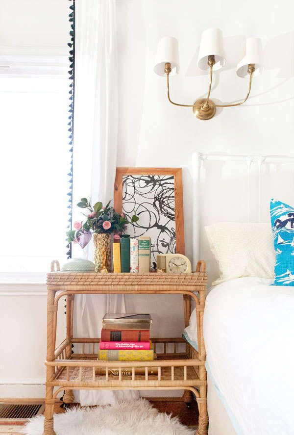 Use a bar cart as a side table. Genius.