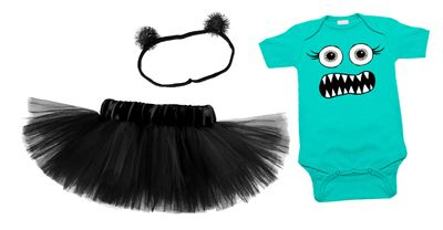 Lashes Monster Aqua & Black Tutu Set