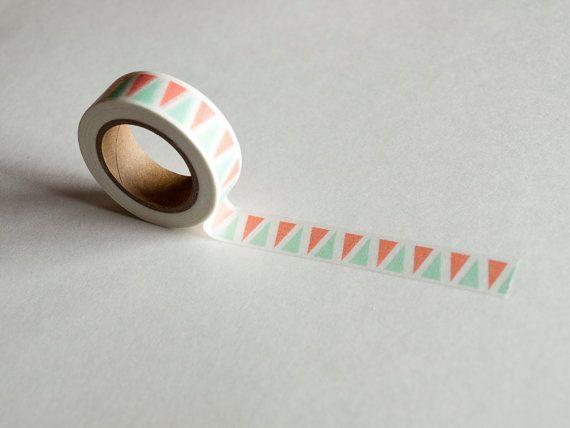 Corail et menthe Triangle motif Washi Tape par SmartyPantsPaperCo