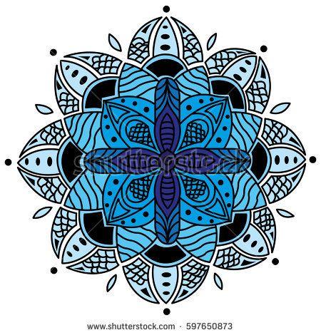Blue Mandala Digital version of my hand-drawn mandala.