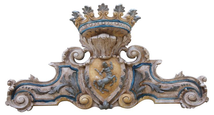 Italian painted plaque of a centaur in a center cartouche surrounded by acanthus leaves and finished with a crown on top.