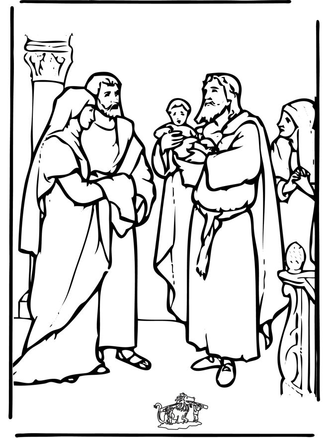 Anna And Simeon Coloring Page For Kids