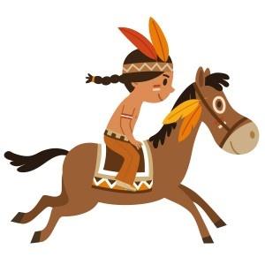 Votre enfant, est-il plutôt du côté des indiens ou de celui des cowboys ?  Petite plume galope à la vitesse du vent sur son cheval. Les cowboys n'ont qu'à bien se tenir !