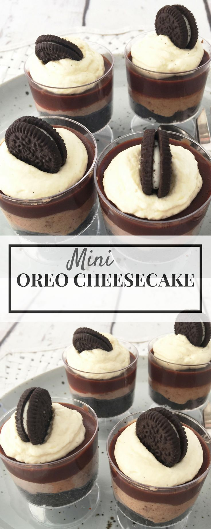 Mini Oreo Cheesecakes make the perfect dessert to take to a BBQ or for a cocktail party. Mini bites, recipe is for conventional cooking and Thermomix.