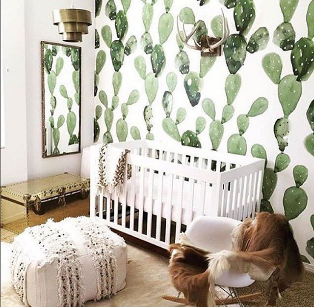 Statement greenery is a great way to add life and help purify the air (when it's real, and not painted on the walls) for the baby. #icstatementnurseries #homesweethome (Photo: @all_about_babies15)