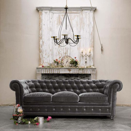tufted and velvety. yum yum. when my pink linen sofa needs to be redone, I am going to go with something rich like this.: