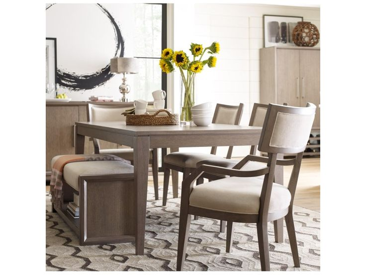 Rachael Ray Home High Line Dining Set with Upholstered Bench - Reeds Furniture - Table & Chair Set with Bench