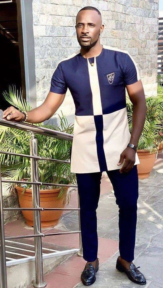Wedding Guest Suit Dashiki Clothing for Men Gift For Him African Groom Royal Blue African Suit for Men Prom African Wear Ankara Attire