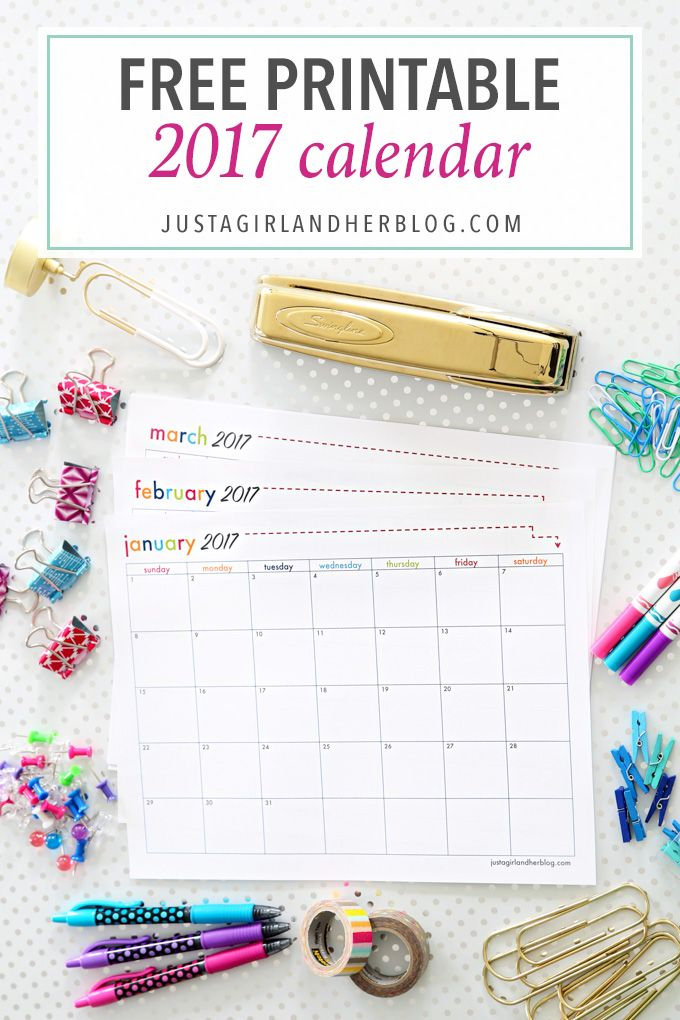 The free printable 2017 calendar is here! This bright and cheerful calendar will help you stay organized all year long-- click over to the post to snag it!