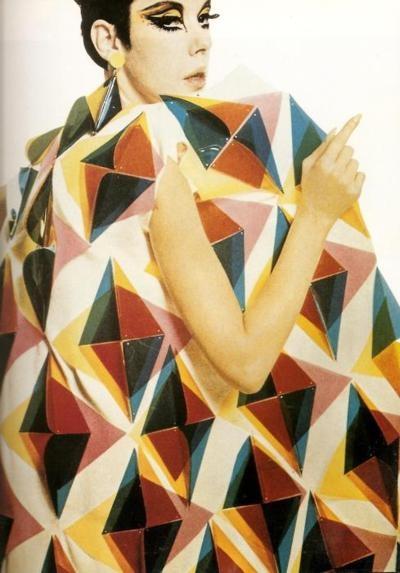 Peggy Moffitt wearing a Paco Rabanne geometric gown
