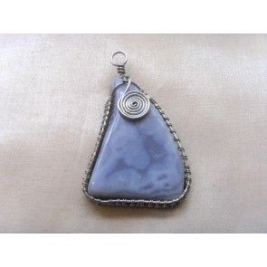 Wire wrapped Blue Lace Agate pendant, 65mm