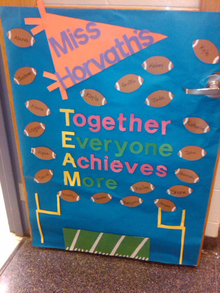 TEAM {Together Everyone Achieves More} Sports themed Classroom Door