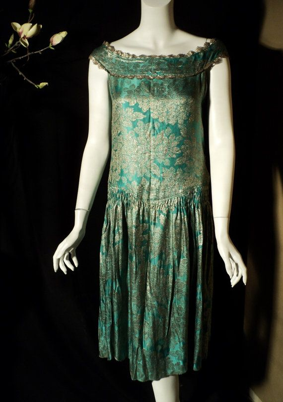 1920s Flapper Lame Dress with lame ribbonwork by Bellasoiree,