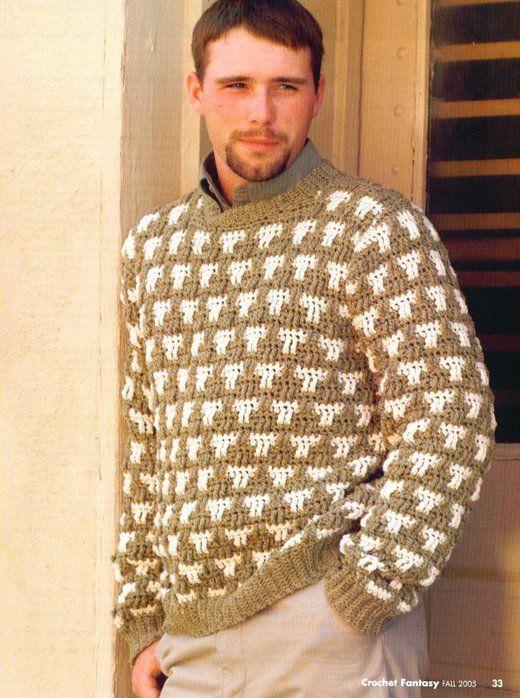 Мужской пуловер крючком. Обсуждение на LiveInternet - Российский Сервис Онлайн-Дневников