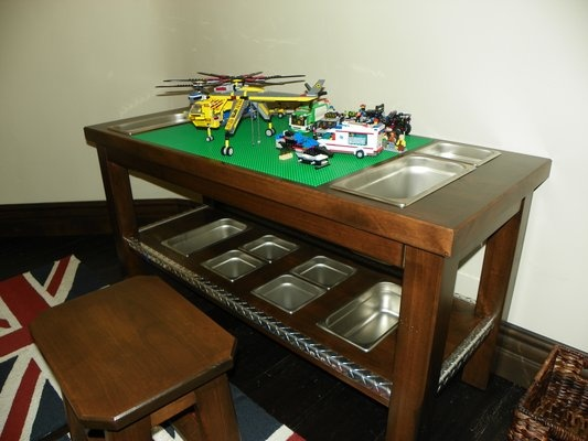 Beautiful Custom Lego Table For Childrens Playroom. Lego Buckets Are Removable And  Can Be Switched With