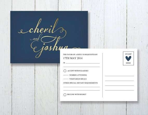 Simple Navy and Gold Wedding Invitation by LittleBridgeDesign