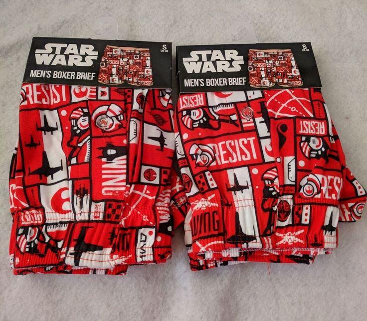 LOT 2 Pairs Star Wars Men's Boxer Briefs Small Red White Black Cotton #StarWars #BoxerBrief