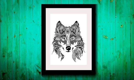 Wall Art, Drawing, Illustration, Zentangle Inspired, Patterns, Art, Print, Home Decor, Modern, Creative,Gift Idea, Wolf, Animal Spirit Guide