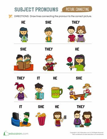 Worksheets: Subject Pronouns for Kids