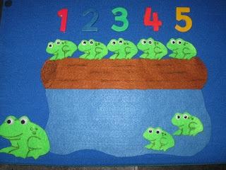 No sew 5 Little Speckled Frogs Felt Set