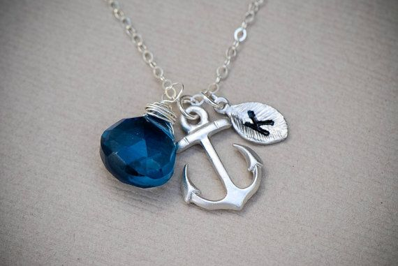 SILVER Anchor Necklace,Gemstone Personalized Anchor Necklace Monogram, Nautical Theme Gift, Wedding Jewelry, Personalized Jewelry via Etsy